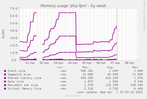 Memory usage 'php-fpm'